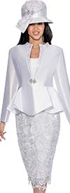 GMI G6463-White - Skirt Suit With Lace Framed Notch Collar Jacket
