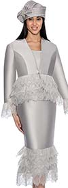 GMI G6473-Silver - Metallic Leaf Design Skirt Suit With Star Neck Jacket