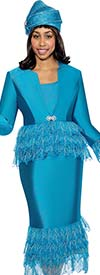 GMI G6473-Teal - Metallic Leaf Design Skirt Suit With Star Neck Jacket