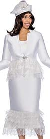 GMI G6473-White - Metallic Leaf Design Skirt Suit With Star Neck Jacket