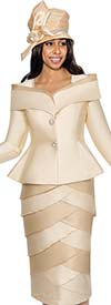 GMI G6492-ChampagneGold - Layered Teir Skirt Suit With Shawl Wrap Collar Peplum Jacket