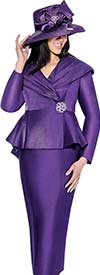 GMI G6512-Purple - Skirt Suit With Pleated Wrap Shawl Collar Peplum Jacket