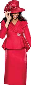 Clearance GMI G6512-Red - Skirt Suit With Pleated Wrap Shawl Collar Peplum Jacket