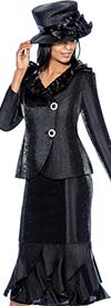 GMI G6522-Black - Layered Mermaid Skirt Suit With Ruffle Side Wrap Collar Jacket