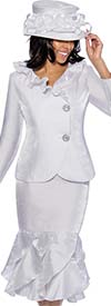 GMI G6522-White - Layered Mermaid Skirt Suit With Ruffle Side Wrap Collar Jacket