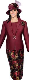 GMI G6533-Bordeaux - Abstract Jacquard Skirt Suit With Solid Wing Collar Jacket
