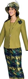 GMI G6533-Green - Abstract Jacquard Skirt Suit With Solid Wing Collar Jacket