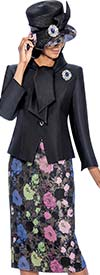 Clearance GMI G6542 - Floral Jaquard Skirt Suit With Solid Wrap Collar Jacket