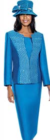 GMI G6553-Turquoise - Skirt Suit With Embroidered Rhinestone Jacket