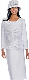 Clearance GMI G6553-White - Skirt Suit With Embroidered Rhinestone Jacket