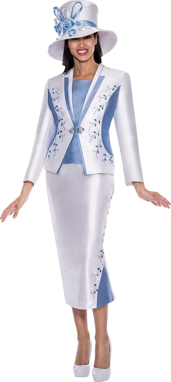 gmi g5633white dusty blue womens church suits
