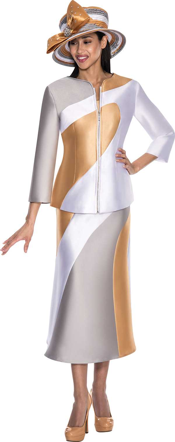 gmi g5683silver white gold womens church suits