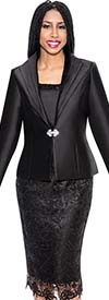 GMI G5273-Black - Church Suit With Wide Lapel Jacket And Lace Skirt