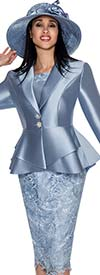 GMI G5353-Blue - Suit With Layered Peplum Jacket And Lace Adorned Skirt