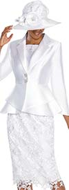 GMI G5353-White - Suit With Layered Peplum Jacket And Lace Adorned Skirt