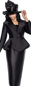 GMI G5753-Black - Skirt Suit With Peplum Jacket And Clover Lapel