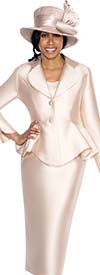 GMI G5753-Champagne - Skirt Suit With Peplum Jacket And Clover Lapel