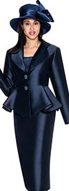 GMI G5753-Navy - Skirt Suit With Peplum Jacket And Clover Lapel