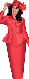 GMI G5753-Red - Skirt Suit With Peplum Jacket And Clover Lapel