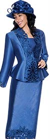 GMI G6073-Royal - Cut-Out Design Skirt Suit For Church With Peplum Jacket