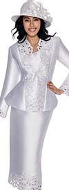 GMI G6073-White - Cut-Out Design Easter Suit For Church With Peplum Jacket