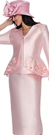GMI G6083-Pink - Church Suit With Cut-Out Peplum Design