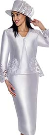 GMI G6083-White - Church Suit With Cut-Out Peplum Design