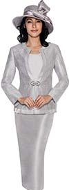 GMI G6093-Silver - Embellished Womens Church Suit