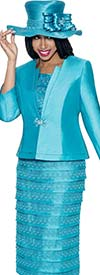 GMI G6103-Turquoise - Church Suit With Layered Skirt For Women
