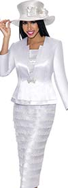 GMI G6103-White - Church Suit With Layered Skirt For Women