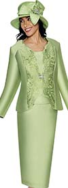 GMI G6173-Green - Skirt Suit For Church With Cut-Out Design Jacket