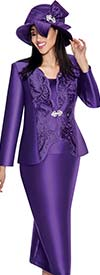GMI G6173-Purple - Skirt Suit For Church With Cut-Out Design Jacket