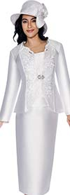 GMI G6173-White - Skirt Suit For Church With Cut-Out Design Jacket