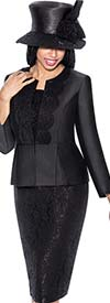GMI G6203-Black - First Lady Church Suit With Lace Lapel Jacket And Lace Skirt