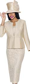 GMI G6203-Champagne - Church Suit With Lace Lapel Jacket And Lace Skirt