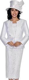 GMI G6203-White - Church Suit With Lace Lapel Jacket And Lace Skirt