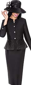 GMI G6232-Black - Church Suit For Women With Embellished Peplum Jacket