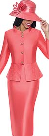 Clearance GMI G6232-Coral - First Lady Church Suit For Women With Embellished Peplum Jacket