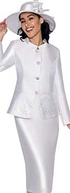 GMI G6232-White - Church Suit For Women With Embellished Peplum Jacket