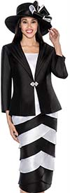 GMI G6243-Black - Layered Skirt Suit With Wide Lapel Jacket
