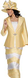 GMI G6243-Yellow - Layered Skirt Suit With Wide Lapel Jacket