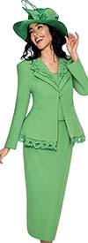 GMI G6272-Green - Skirt Suit With Leaf Design Peplum Jacket For Women