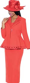 GMI G6272-Tomato - Skirt Suit With Leaf Design Peplum Jacket For Women