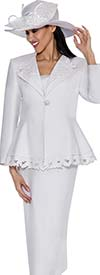 GMI G6272-White - Skirt Suit With Leaf Design Peplum Jacket For Women