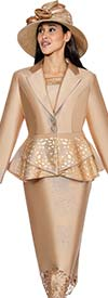 GMI G6443 - Skirt Suit With Laser Cut Design Peplum Jacket