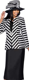 GMI G6563-Black - Skirt Suit With Stripe Design Jacket