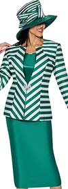 GMI G6563-Green - Skirt Suit With Stripe Design Jacket