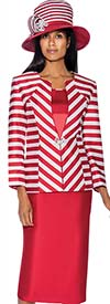 GMI G6563-Red - Skirt Suit With Stripe Design Jacket