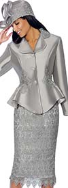 GMI G6592-Silver - Lace Accented Skirt Suit With Peplum Jacket