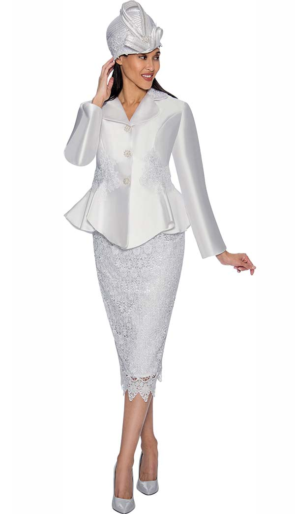 GMI G6592-White - Lace Accented Skirt Suit With Peplum Jacket